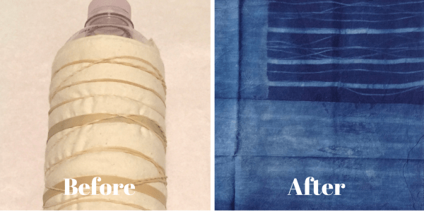 DIY Shibori - indigo dyeing - wrapping fabric around a water bottle