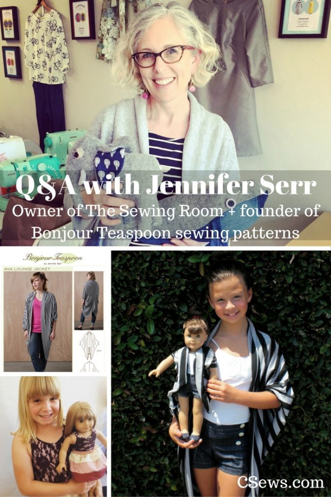 Jennifer Serr interviewed about her sewing business The Sewing Room and her pattern line Bonjour Teaspoon, which features patterns for dolls, girls, and adults