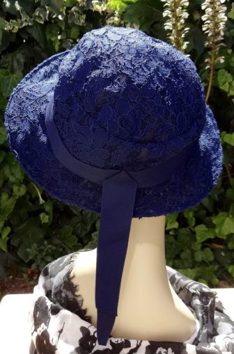 Back view of finished lace hat - Vogue 8891 - V8891 sewing pattern