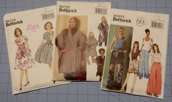 Butterick sewing patterns - B6318 Vintage reissue dress '61 - B6392 - Misses' Wrap - B5983 shorts and pants