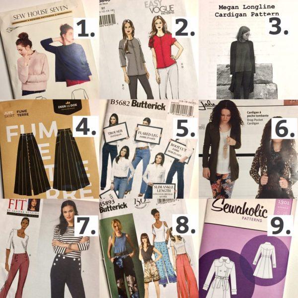 Sewing plans 2017 - Sewing patterns - Sew House Seven Toaster Sweater, Vogue, Tessuti Megan Longline Cardigan, Deer & Doe Fumetere, Butterick, Jalie and Sewaholic Robson