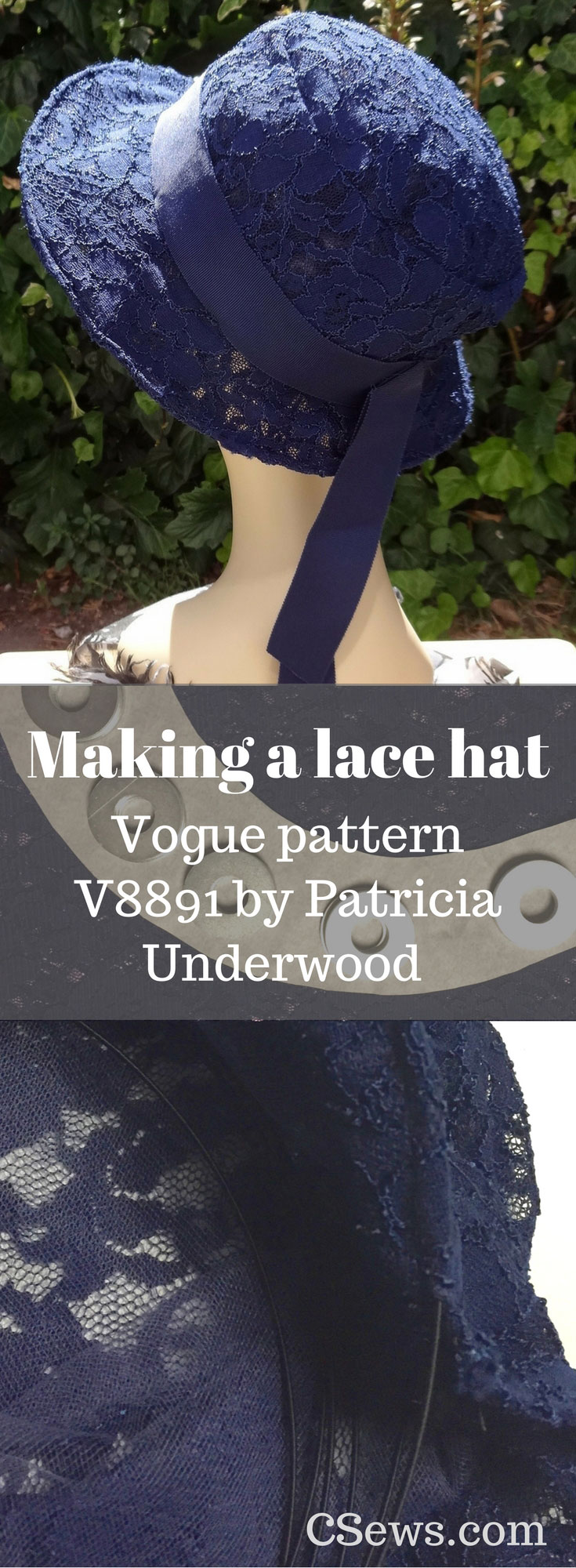 Making a lace hat with Vogue sewing pattern V8891 - by Patricia Underwood