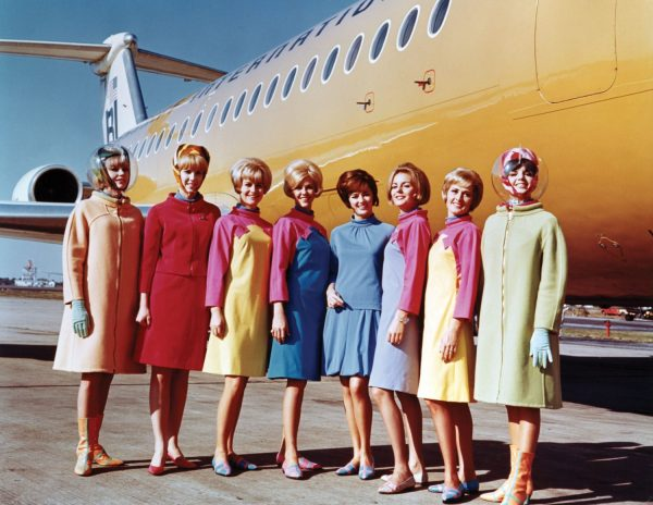 Braniff International Airways hostesses in uniforms by Emilio Pucci 1965 Photo credit: Braniff International Public Relations Archives, History of Aviation Collection, UT-Dallas [Fashion in Flight exhibit at SFO]