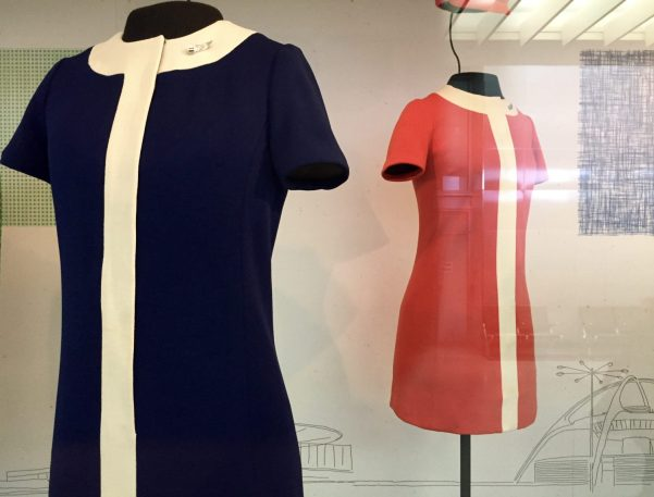 United Air Lines stewardess uniform by Jean Louis (1968)