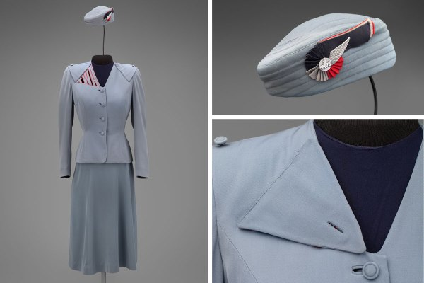 Transcontinental & Western Air hostess uniform by Howard Greer 1944 Collection of SFO Museum Gift of TWA Clipped Wings International, Inc. Photo credit: SFO Museum - Fashion in Flight exhibit at SFO
