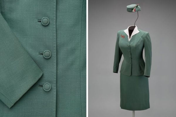 Trans World Airlines hostess uniform by Oleg Cassini 1955 Collection of SFO Museum Gift of TWA Clipped Wings International, Inc. Photo credit: SFO Museum