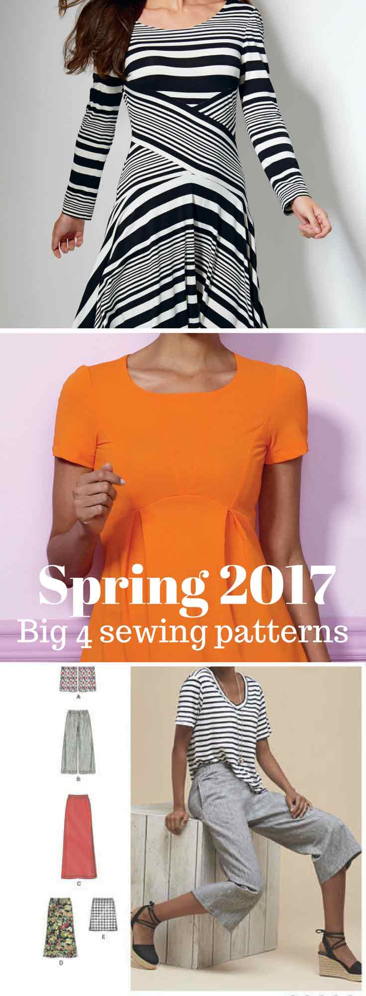 Big Four sewing patterns - spring 2017 - Butterick B6458, McCalls M7538, Simplicity 8299