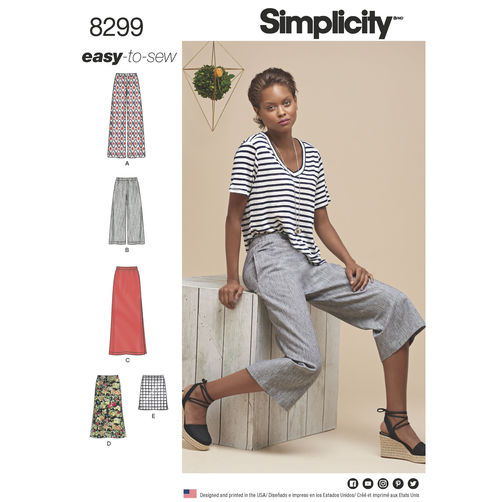 Simplicity Pattern 8299 Misses' Skirts or Pants in Various Lengths