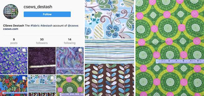 Destashing fabric on Facebook and Instagram