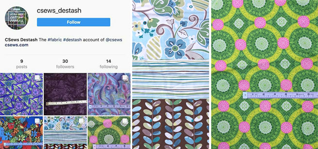 Destashing fabric on Facebook and Instagram - csews.com