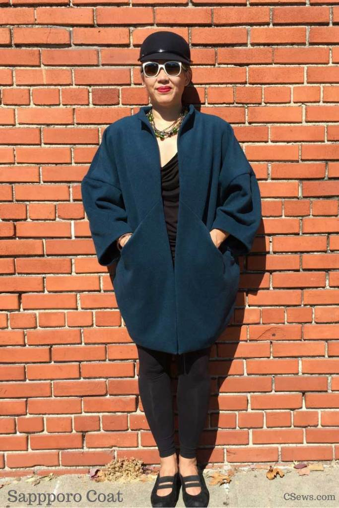 Papercut Patterns - Sapporo Coat - in a teal wool melton from Britex Fabrics - by CSews
