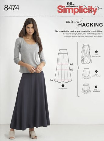 Fall sewing pattern - Simplicity 8474 - skirt pattern hack