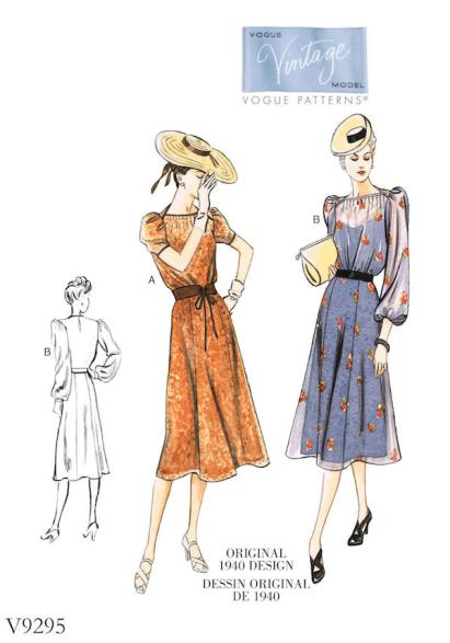 Big Four 2018 Spring Patterns - Vintage Vogue pattern V9295 - ca. 1940 - CSews.com