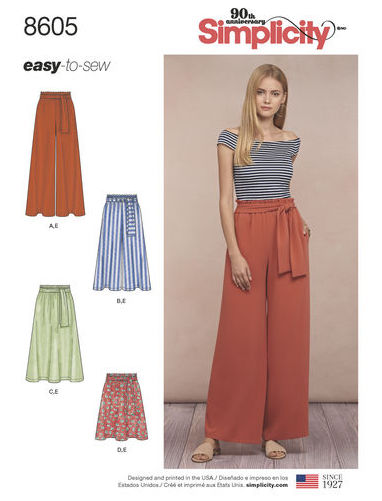 Big Four 2018 Spring Patterns - Simplicity 8605 - paper bag waist skirt and pants pattern - CSews.com