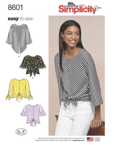 Big Four 2018 Spring Patterns - Simplicity 8601 - front-tie top pattern - CSews.com