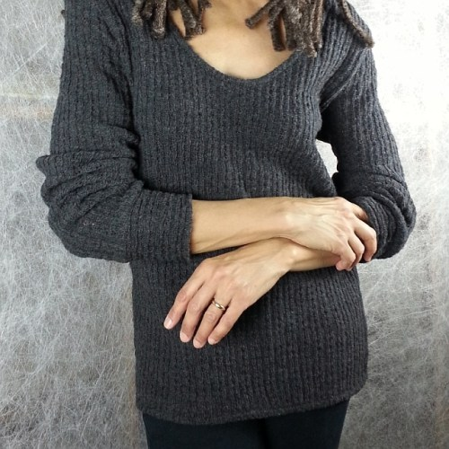 Beautiful sweater knit fabric sewn into a lovely long-sleeved sweater - Olgalyn Jolly