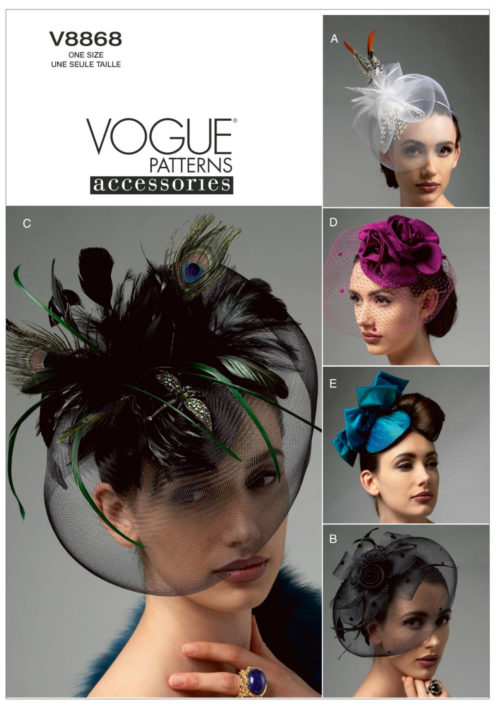 v8868 - Vogue sewing patterns - 5 hats, fascinators