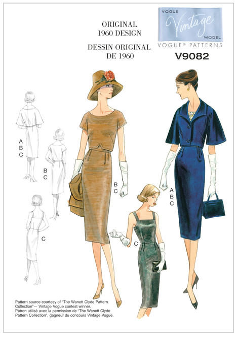 V9082 - Vintage Vogue sewing patterns - 1960 - dolman-sleeve jacket, top and dress