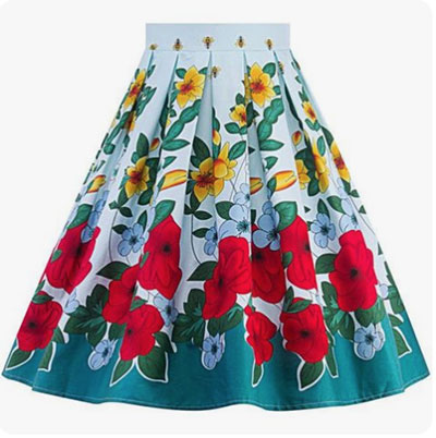 High-waisted skirt with inverted pleats - sewing plans