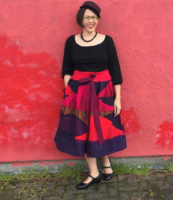 "Color-blocked skirt for Bay Area Sewists Frocktails -  Marimekko ""Tultakero"" fabric -  CSews.com"