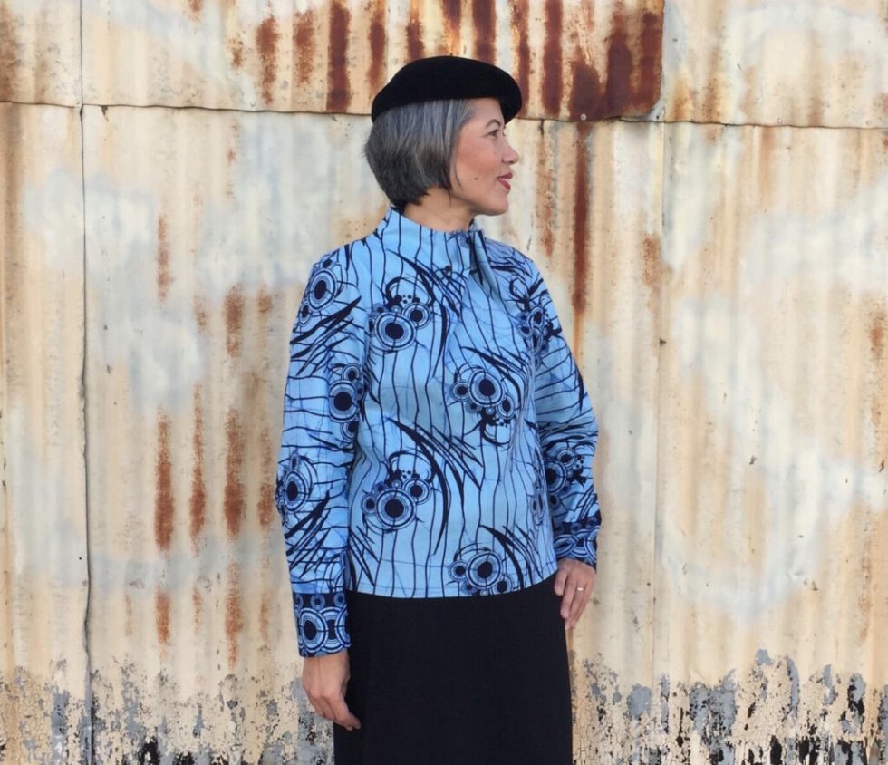 Elastic Tie Sweater - pattern by The Assembly Line - wax print fabric - CSews.com