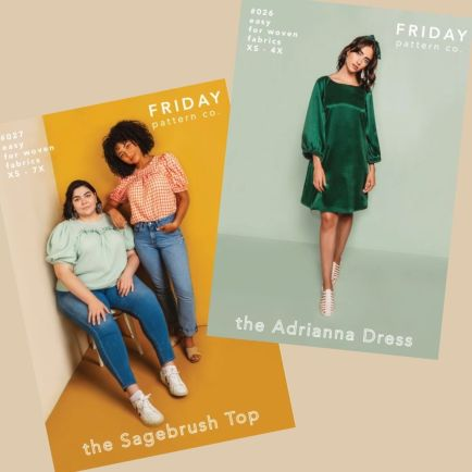 Models wearing the short-sleeved Sagebrush Top and a green Adrianna Dress - Friday Pattern Company