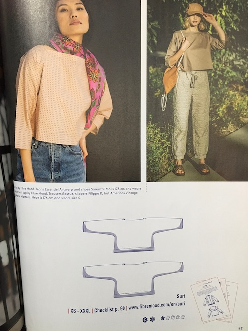 Photos of two women in magazine wearing Suri top and line drawing of the sewing pattern