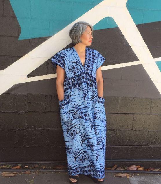 Asian woman in maxi dress in blue Ankara fabric - Cris Wood Sews Parasol Dress