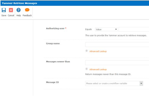 Yammer retrieve messages