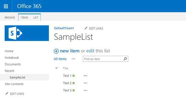 list in SharePoint site