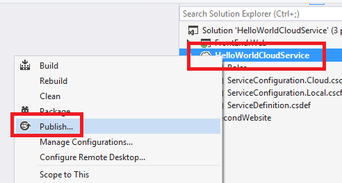 Azure Cloud Service – Deploy Application Using Visual Studio