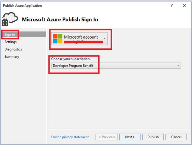 Publish Azure Application
