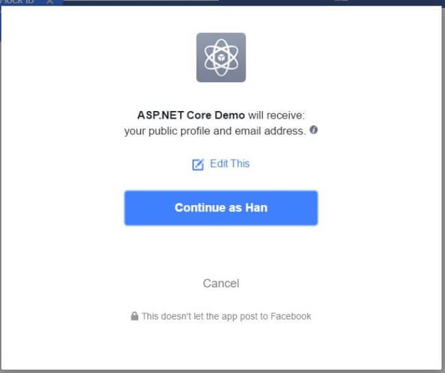Configure Facebook as External Login Provider in ASP.NET Core