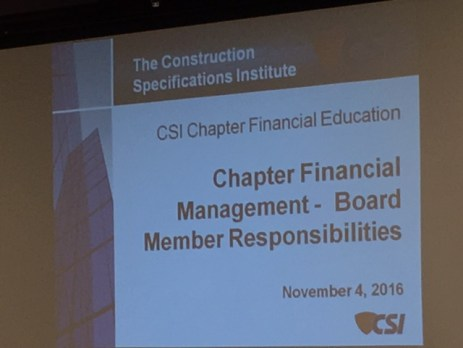 Bob Siegrist's presentation on chapter finances and board responsibilities