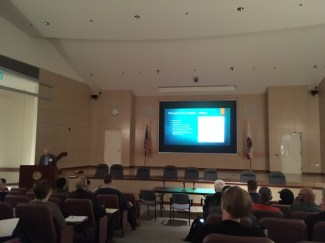 Tom Butt of Interactive Resources gives his presentation on the Powell Street BART Station during the Landmark Waterproofing Disasters seminar presented by CSI East Bay on November 18, 2016.