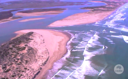 Aerial view of the mouth of the River Murray.