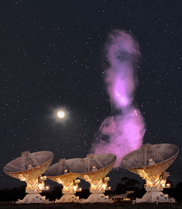 Four telescopes with a long purple looking cloud in the background
