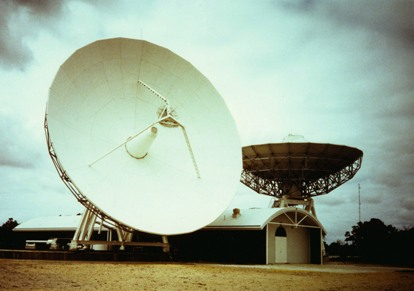 The two OTC 18-m earth-station antennas at Perth