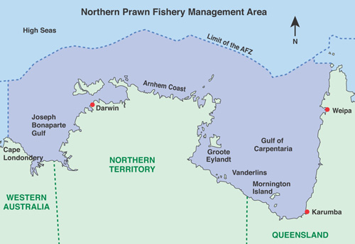 Map of the Northern Prawn Fishery Management Area