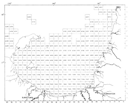 The original survey grid ruled out in squares of 6 minutes latitude and longitude