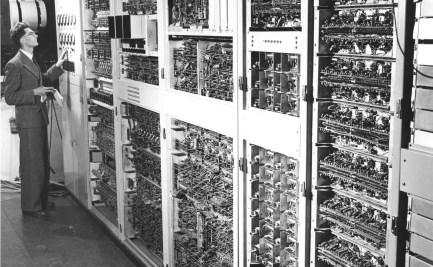 A technician working with the CSIR Mk1 Computer