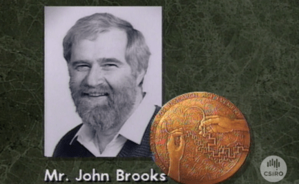 Graphic of John Brooks with CSIRO Medal.