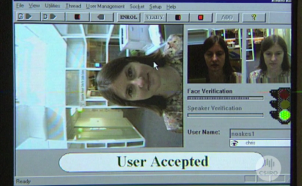 Monitor screen for facial recognition system.