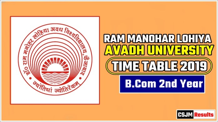 Avadh University [RMLAU] BCom 2 Year Exam Scheme 2019