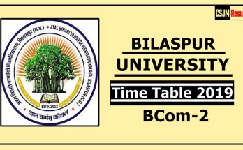 Bilaspur University BCom 2 Year Time Table 2019