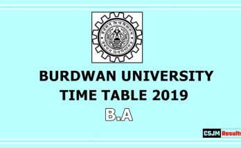 Burdwan University Time Table 2019 B.A