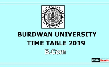 Burdwan University Time Table 2019 B.Com