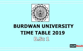Burdwan University Time Table 2019 B.Sc 1
