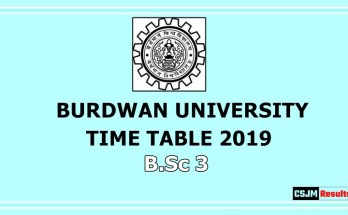 Burdwan University Time Table 2019 B.Sc 3