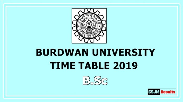 Burdwan University Time Table 2019 B.Sc